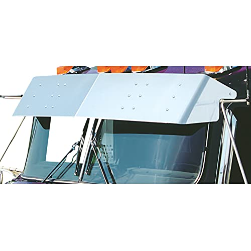 """RoadWorks Stainless Steel 13"""" Drop Visor for 2007-2020 Kenworth W900L Style Cab with Curved Windshield"""
