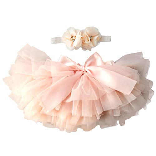 YONKINY Tulle Ballet Tutu Corta para Niñas+Venda Falda Capas Tul De Volantes Princesa para Danza Fiesta Boda Cumpleaños Fotografía (Pesca Roja, Talla M por 6-12 Meses)