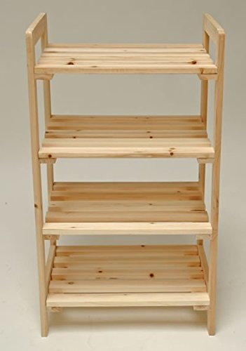 DS Stabiles Holzregal - Massivholzregal - Bücherregal - Kellerregal - Regal mit 4 Böden 45x33x79cm...