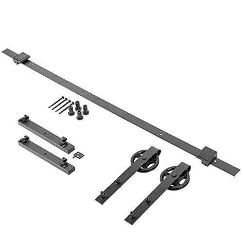 SOTECH Schiebetürbeschlag LOFT 2 m schwarz mit Laufrollen-Ø 120 mm inkl. Soft-Close-Dämpfer Schiebetürsystem mit Aushängesicherung und Bodenführung für Holzschiebetüren