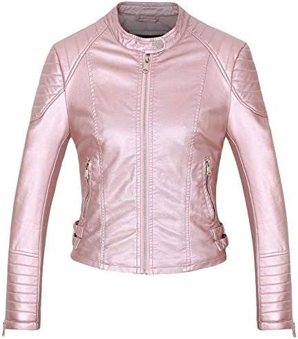 Women Faux Leather Jacket Coats Zip Up Biker Short Punk Tops Outerwear 5Colors