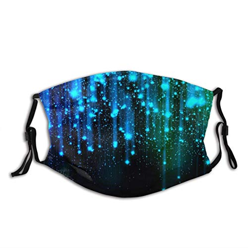 Mundschutz Black and Blue Neon Lights Face with Filter Pocket Washable Reusable Face Bandanas Balaclava with 2 Pcs Filters