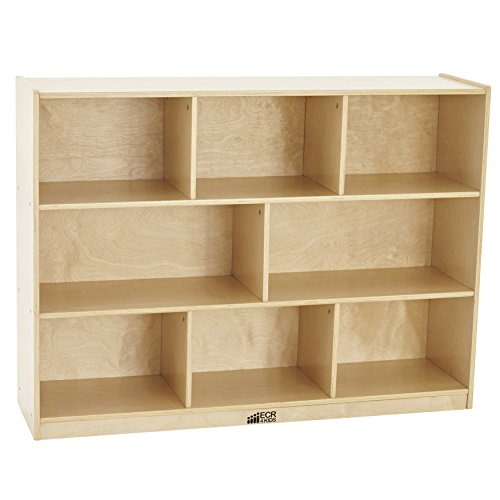 "ECR4Kids Birch 8-Section School Classroom Storage Cabinet with Casters, Natural, 36"" H"