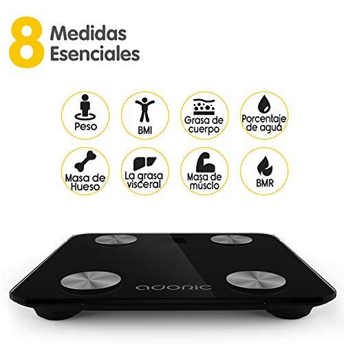 41BWj4EIulL - Báscula Grasa Corporal Bluetooth Más de 8 Funciones, Báscula Analógica Monitores de composición corporal Para Móviles Andriod y iOS (Negro)