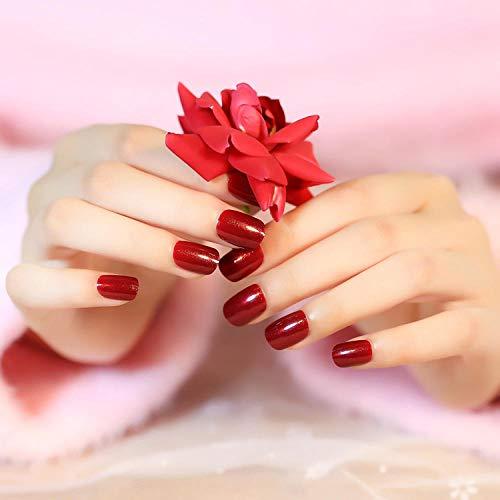Permanent Deep Blood Red Faux Ongles Court 24 Pcs Plein Hibou Nail Conseils Ovale Populaire Acrylique Mignon Nail Outils