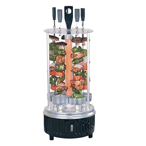 Vertikaler Edelstahl Elektro-Tischgrill 360° Elektrogrill BBQ Vertikalgrill Rundgrill für Schaschlik-, Fleisch-, Garnelen-, Gyrosspieße Dreh-Grill 1000W Heizmodul mit Schutzgitter inkl. 5 Spieße