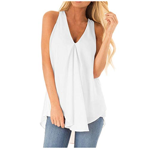 iLOOSKR Plus Size Summer Fashion Women V Neck Sleeveless Solid Casual Loose Tank Top Irregular Hem Flowy Tops White