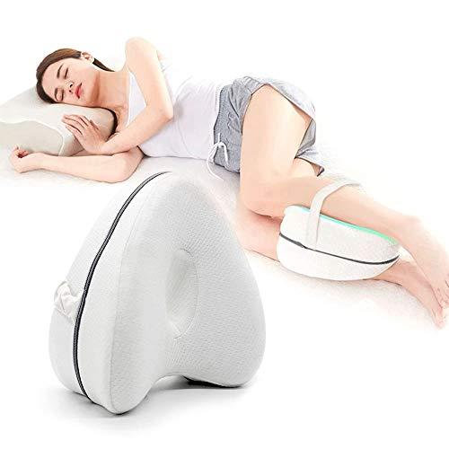 LAPONO Coussins relève-Jambes pour Jambe avec Mousse à mémoire de Forme Homme Femmes Leg Pillow pour dormeurs latéraux, soulagement de la sciatique, Douleur aux Jambes, Grossesse Coton Blan (B)