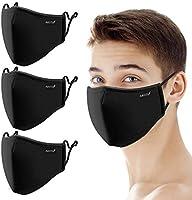 Face Mask Reusable, Cloth Face Mask Washable Adjustable, Black Designer Fabric Dust Masks Breathable Facial Cover, 3PCS
