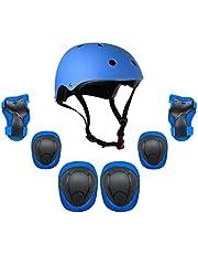 Honelevo kids 7 in 1 Helmet and Pads Set Adjustable Kids Knee Pads Elbow Pads Wrist Guards for Scooter Skateboard Roller Skating Cycling blue color