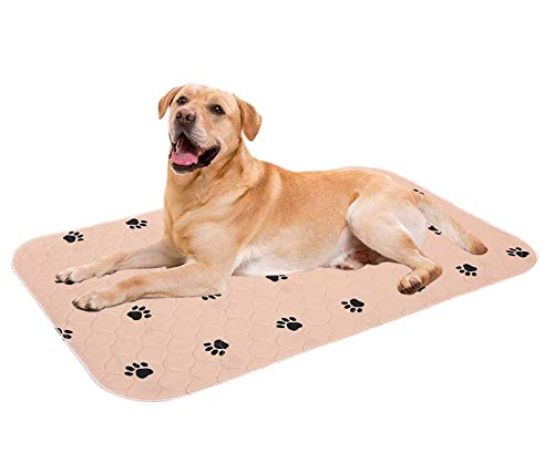Geyecete Waterproof Dog Mat Non-Slip 2 Pack Puppy Potty Training Pads - Washable Pee Pads for Dogs Reusable Whelping Pads for Dog Crate 3548 inch-L-Brown