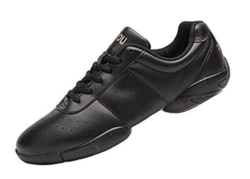 PPXID Femmes Légères Mode Chaussures de Danse Gymnastique Baskets Cheerleading Chaussures de Jazz Yoga pour Hommes -Noir(B) 39
