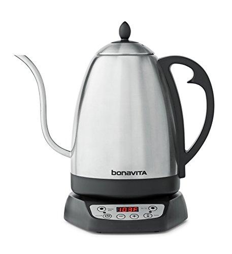 Bonavita Wasserkocher mit variabler Temperaturregelung, 1,7 l, Silber und Schwarz