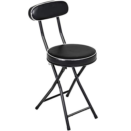 Trademark Home A022273 24 Inch Cushioned Folding Stool Collection Midnight