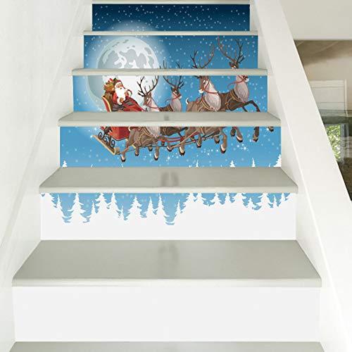 Pegatinas para escalera, 39.3 W x 7H X6 piezas de pegatinas de pared de carro de Navidad DIY escalera, PVC impermeable papel pintado Personalidad creativa pegatinas de pared