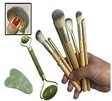 Set brochas de maquillaje de 7 piezas pinceles de bambu para polvos sueltos sombra de ojos colorete rubor REGALO rodillo masajeador facial jade cuarzo rejuvenece tu cara cuello y ojos