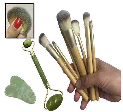 Lot de 7 pinceaux de maquillage en bambou pour fard à paupières, fard à paupières, fard à joues, blush, rouleau de massage, jade à quartz, rajeunit votre cou et vos yeux.
