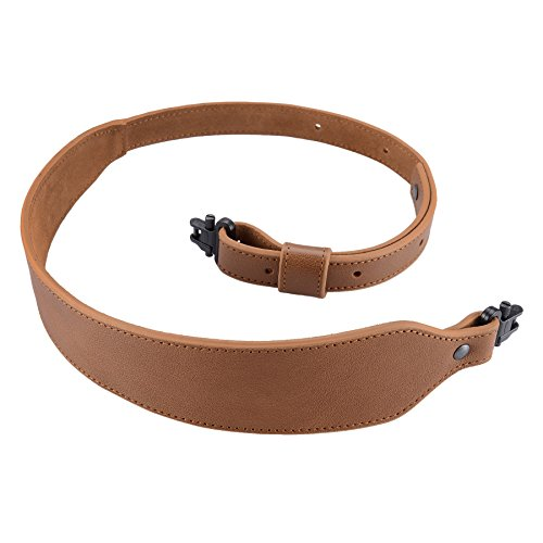"Raiseek Rifle Sling Buffalo Hide Leather Sling with Swivels, Durable Gun Strap, Metal Hardware 1"" Wide"