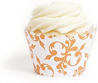 Dress My Cupcake Orange Filigree Cupcake Wrappers, Set of 12