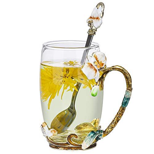 COAWG Glas Teetasse mit Löffel, Lead-Free Handgemacht Emaille Tasse Kaffeebecher 3D Blumen Becher Kaffee Saft, Bier Warme und kalte Getränke für Frauen Oma Graduation Mädchen Geburtstag Muttertag