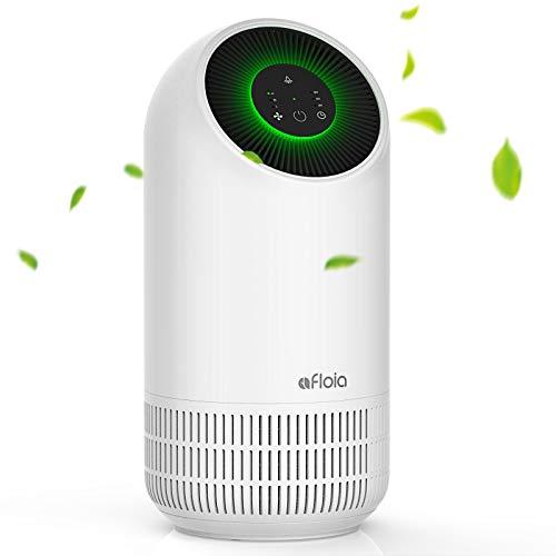 Afloia Purificador de Aire portátil para el hogar, filtro de Aire con verdaderos filtros HEPA,Libre de Ozono, 3 Velocidades, Luz Nocturna, Capturar Alergias, Polen, Humo, Olor y Caspas de Mascota ⭐