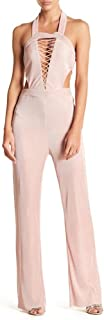 Wow Couture Halter Pleat Jumpsuit, Dusty Pink - Medium