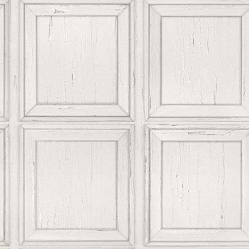 Wood Panel Effect Wallpaper Weathered Rustic Distressed Grain Off White Y�L