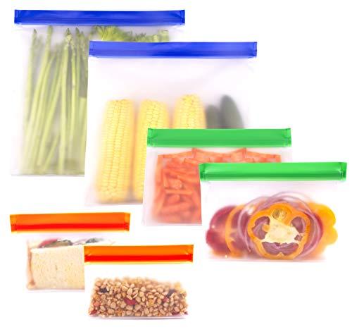 Qshare再利用可能な食品保存バック 食品収納袋 6つ密閉シール食品貯蔵(2つの大きいバックと2つのランチバッグと2つのスナックバッグ)果物と野菜、穀物、旅行など多目的収納 冷蔵と冷凍に対応 (6枚マルチカラー-2)