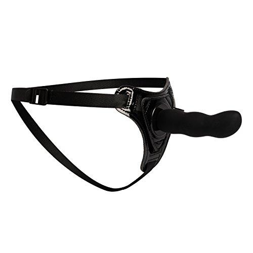 Venize - Consolador con correa de nailon ajustable (S-XXL) y consolador de silicona ondulado, color negro