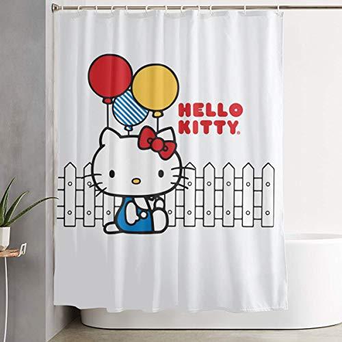 WSXEDC Duschvorhang Hello Kitty hält Luftballon, wasserdicht, 152 x 183 cm