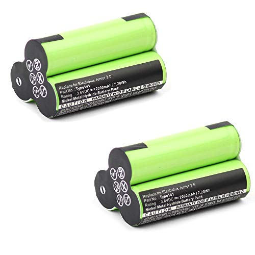 subtel 2X Premium Akku (3.6V, 2000mAh, NiMH) kompatibel mit AEG Junior 2.0 / Electrolux Junior 2.0 - Type141 Ersatzakku Batterie Werkzeugakku