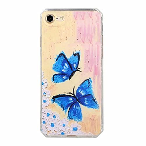 TYWZ Ölgemälde Hülle für iPhone 6S Plus/6 Plus,Süß Kunst Malerei Abstrakt Handy Case Handyhülle Slimcover Weiche Schutzhülle Slimcase Tasche-Schmetterling