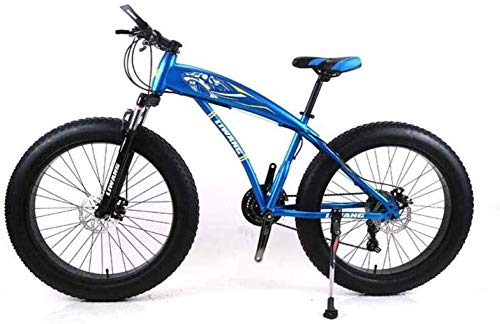 Wyyggnb Mountain Bike, Folding Bike 24 Inch Mountain Bike Wide Tire Disc Shock Absorber Student Bicycle 21 Speed Gear for 145Cm-175Cm (Color : Blue)