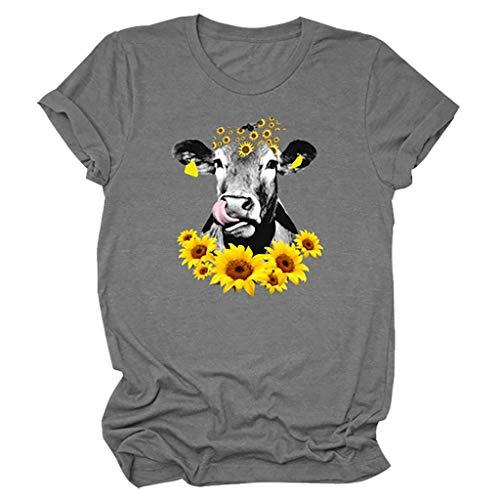 Damen Tier Tops Elefant Sonnenblume T-Shirt Frauen Sommer Kurzarm Floral Tier Tee Tops Lässig Oberteil 3D Tshirts Tie-dye T Shirt Bluse Rundhals Blusen Pullover Sweatshirts