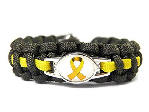 Hanse Charms-aus Paracord-Armband-Thin Yellow Line-Gelbe Schleife-Bundeswehr-Verstellbar-Geschenk-Weihnachtsgeschenk-Olive Drab