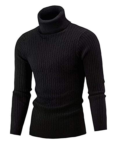 Cameinic Men's Casual Slim Fit Turtleneck Pullover Sweaters Black, X-Small