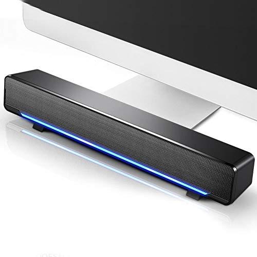 Barra de Sonido estéreo con Cable USB, Altavoces domésticos para computadora de Escritorio o PC portátil o teléfonos celulares, Sonido Envolvente de Graves, Cristal Claro(Negro)