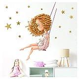 Little Deco DL199 - Adhesivo decorativo para pared, diseño de niña con conejo...
