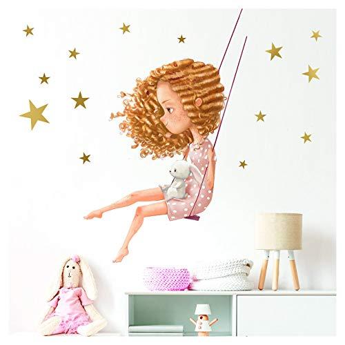 DL199   Adhesivo decorativo para pared, diseño de niña con conejo en columpio, 140 x 71 cm (ancho x alto), para habitación de niños y niñas