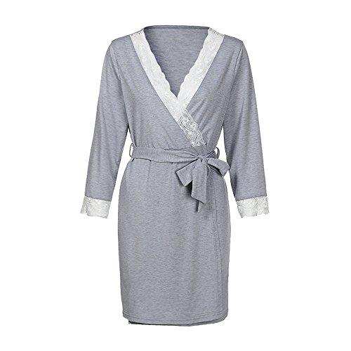 Cerlemi Damen Pflege Geburt Krankenhaus Nachthemd Kurzarm Nachthemd Umstandsnachthemd mit Knopf Stillnachthemd für Schwangere und Stillzeit Geburtskleid Krankenhaus Umstands