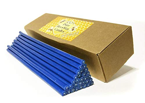 Natural Pure Beeswax Candles Organic Honey Eco Blue Color Candles in Gift Box (Natural Cotton Wicks, Dripless, Smokeless, Not Taper Candles) (Blue, 8 Inches (20 cm) 30pcs)