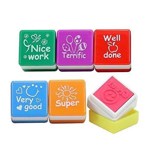 6 pezzi timbri per insegnanti timbri autoinchiostranti timbri in plastica cartone animato per uova di pasqua stuffers, favore di partito, francobolli dell'insegnante