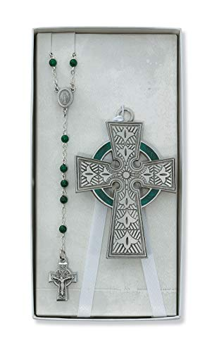 Baby Boys Girls Pewter Irish Celtic Crib Cross Rosary Set Cruficix Baptism Christening Nursery Decor
