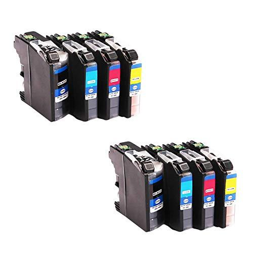 LC65 Cartuchos de tinta de repuesto para Brother MFC 250C 255CW 290C 295CN 490CW DCP-145C 165C, cartucho de impresora de inyección de tinta de alto rendimiento compatible (4 paquetes) combinación x 2