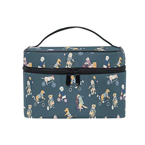HaJie - Bolsa organizadora de maquillaje de gran capacidad, para bicicleta, perro, perro, viaje, portátil, bolsa de almacenamiento de artículos de tocador, bolsa de lavado para mujeres y niñas