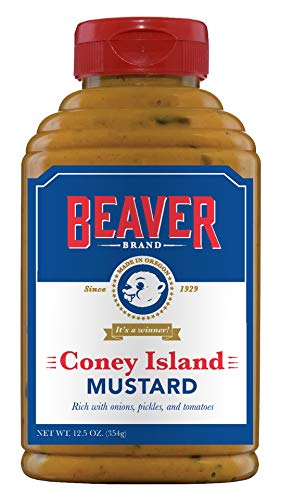 Beaver Coney Island Hot Dog Mustard, 12.5 Ounce Squeeze Bottle (Pack of 6)