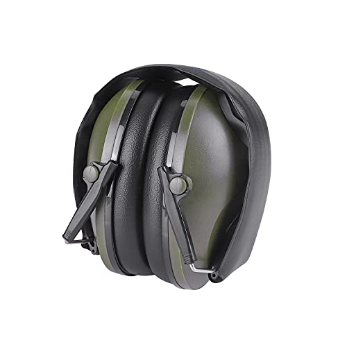 Hearing Protection Noise Reduction Ear Muffs Safety Ear Muffs Defenders Compact Foldable Portable Tactical Earmuffs Headphones Ear Protectors for Shooting Hunting Lawn Mowing (Army Green)