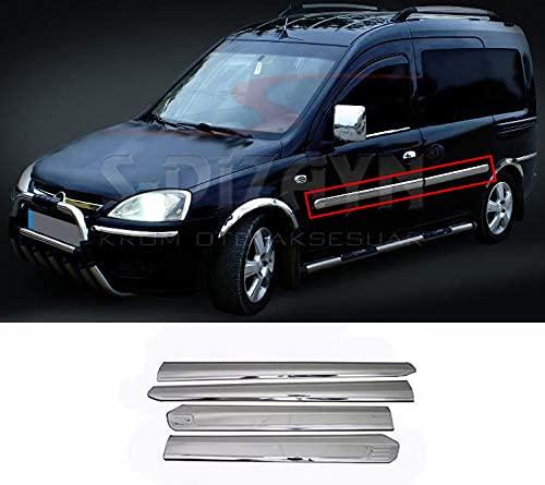 Para Combo C 2001 – 2011 cromo puerta lateral serpentín moldeado protector de acero inoxidable 4 piezas