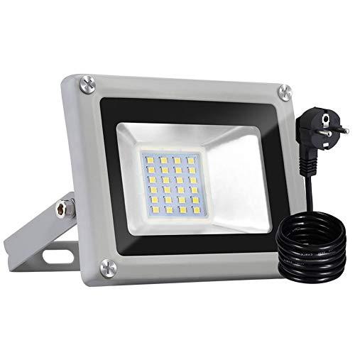Bellanny 20W LED Strahler Außen, 1600LM LED Fluter, 6500K Kaltweiß Superhell LED Floodlight, IP65 Wasserdicht Scheinwerfer, für Garten, Garage, Sportplatz, Hotel ect