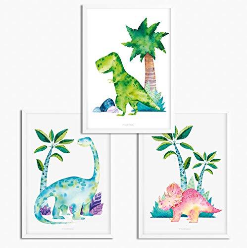 Sunnywall® 3er Set Poster Kinderzimmer - A4 Bilder Babyzimmer Kinderposter | OHNE Bilderrahmen | - Deko Junge | Dinosaurier Dino T-Rex Brachiosaurus Triceratops